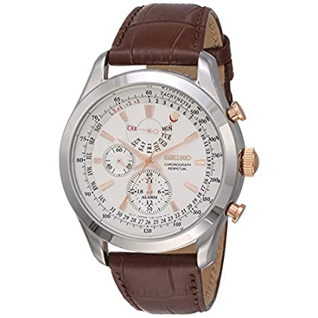Fashion Shopping Seiko Men's SPC129P1 Neo Classic Alarm Perpetual Chronograph White Dial Brown Leather Watch