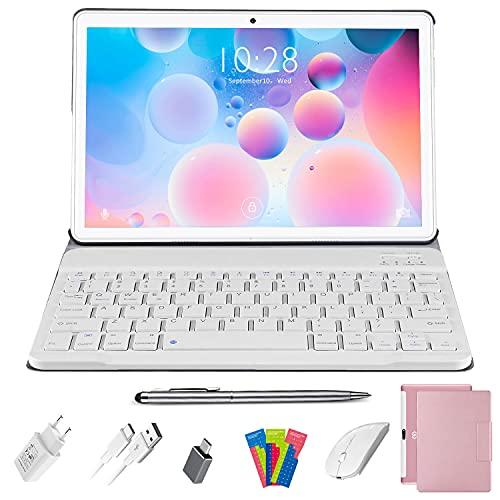 Tablette Tactile 10.1 Pouces 4G LTE, Tablette Android 10.0 avec Clavier et Souris, Quad-Core, 4 Go RAM 64 Go ROM, Écran Full HD, 5.0+8.0 MP Caméra, WiFi, Bluetooth, Netflix, Google Play (Rose)