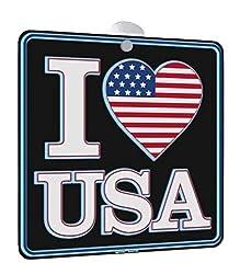 I Love USA - SELF Illuminating Window Sign