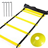 YBCPACK Agility Ladder Speed Ladder 6M 12-Rung With 12 Yellow Disc Cones, A