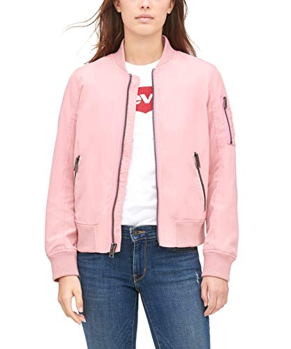 Womens Poly Bomber Dusty Rose Pink Jacket with Contrast Zipper Pockets