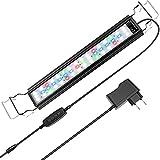 Luz Acuario Pantalla LED Acuario Impermeable IP66, 18W 700 Lúmenes, 3 Modos de Luz, Intensidad Ajustable, Temporizador, Soporte Extensible, Aleación de Aluminio para Acuarios de 45/70cm (Modelo ZL-50)