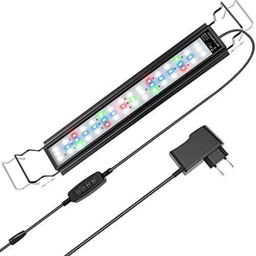 LED Acquario, Luce Acquario per Acquari da 45/ 70cm, 18W 700 Lumen, Impermeabile IP66, 3 Modalità di Luce, Intensità Regolabile, Timer, Staffa Estensibile, Lega di Alluminio (Modello ZL-50)