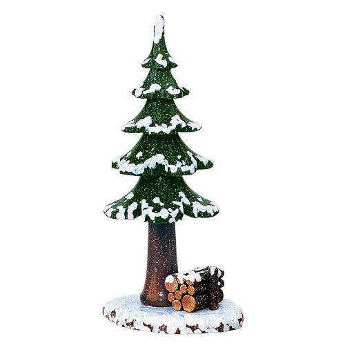 Hubrig Winterkinder Winterbaum mit Holzstapel Erzgebirge