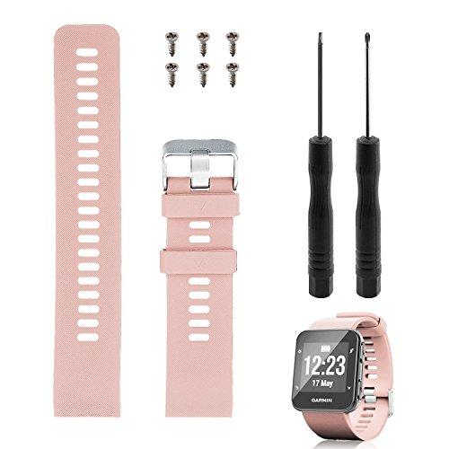 Reemplazo de banda Rukoy para Garmin Forerunner 35, correa de reloj de repuesto de silicona suave para Garmin Forerunner 35 reloj inteligente, ajuste 5.56