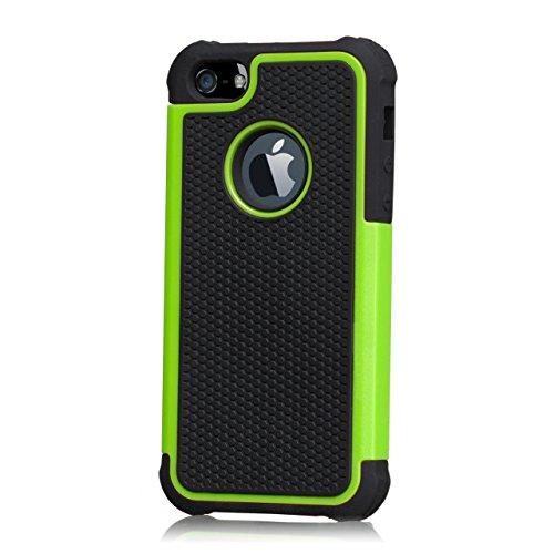 32nd Shockproof Series - Schutz Stoßdämpfung hülle vor Stürzen & Stößen für Apple iPhone 4 und 4S, Hülle Cover mit Stoßdämpfenden Kern - Grün