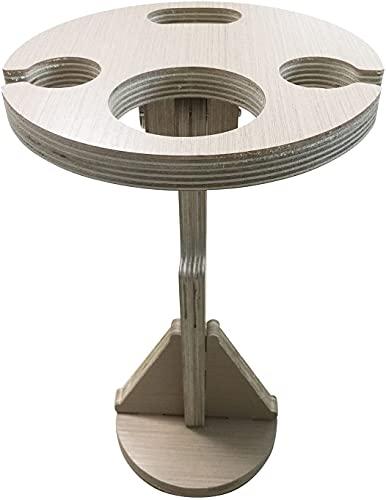 Mesa de vino portátil al aire libre, mesa de picnic plegable al aire libre, mesa de cristal de vino de jardín, mesa de picnic plegable de madera para playa, patio, picnic al aire libre (madera, con ba