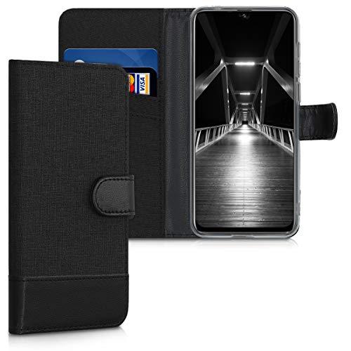kwmobile Wallet Hülle kompatibel mit Ulefone Note 7 (2019) - Hülle Kunstleder mit Kartenfächern Stand in Anthrazit Schwarz