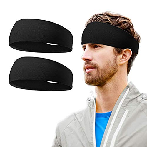 kuou 3 Pcs Sweat Bands Headbands, Sweat Wicking Headbands Breathable & Non-Slip Black Hairbands for Yoga Running Sport Tennis