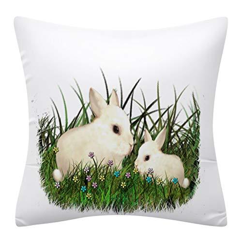 Kissenbezüge Rabbit Kaninchen drucken Ostern Kissenbezug Kissenbezug Zierkissenbezüge Throw Pillow Covers Cases Festival Deko Decoration Kissenhülle Schlafsofa URIBAKY