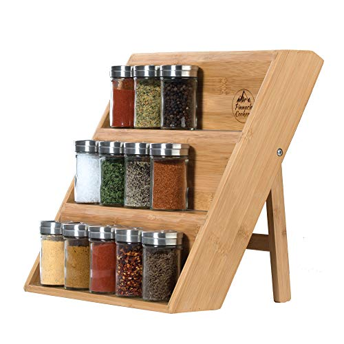 Pinnacle Cookery Bamboo Spice Rack - Eco Friendly Wooden...