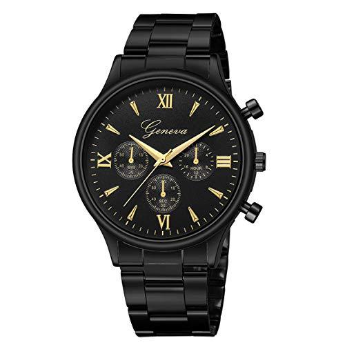 Abstand Armbanduhr FGHYH Männer Luxus Mode Für Männer Aus Edelstahl Quarz Analoge Armbanduhr Uhr Watch Armbanduhr(Schwarz)