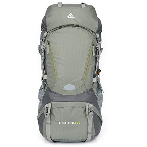 Liusujuan Hiking Backpack 60L with Rain Cover for Backpacking, Hiking, Camping (Color : Green)