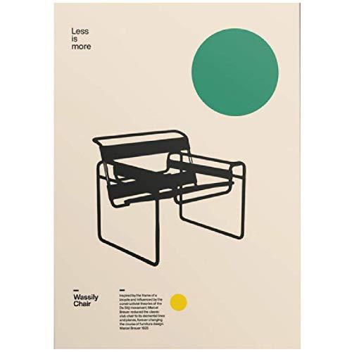 Póster de lienzo para decoración del hogar, silla Wassily, muebles mínimos de Marcel Breuer, diseño de Bauhaus, arte para sala de estar, sin marco