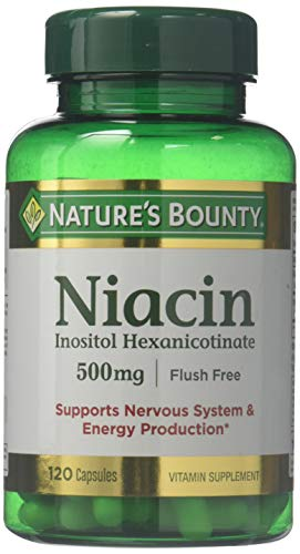 Nature's Bounty Flush Free Niacin 500 Mg, 240 Capsules (2 X 120 Count Bottles)