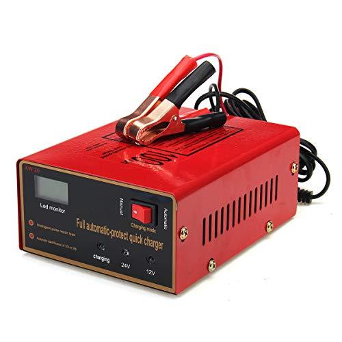 IJEOKDHDUW Cargador de batería Rojo de la Motocicleta del Coche 12 / 24V 10A 140W Cargador de batería Rojo