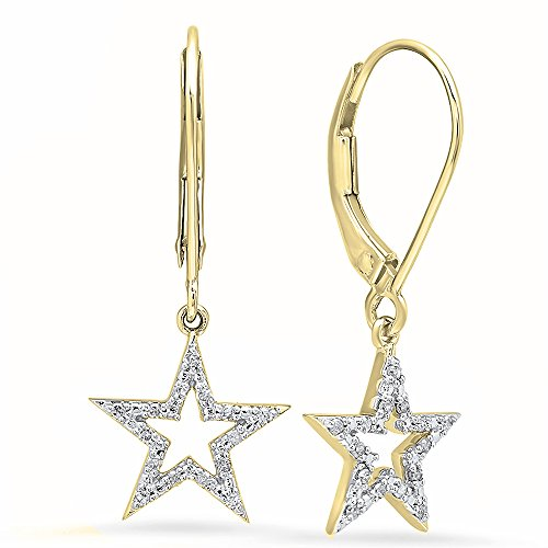 Dazzlingrock Collection 0.15 Carat (ctw) 10K Round Cut White Diamond Ladies Star Shape Fashion Dangling Earrings, Yellow Gold