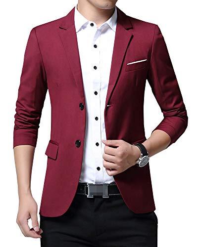 Shengwan Herren Anzugsjacke Slim Fit Freizeit Anzug Sakko für Hochzeit Party Business Weinrot M
