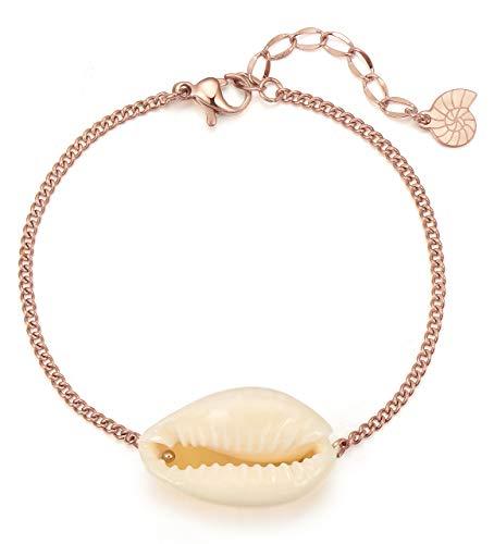 Happiness Boutique Damen Muschel Armband in Rosegold | Zarte Armkette mit Kauri-Muschel Anhänger Edelstahlschmuck