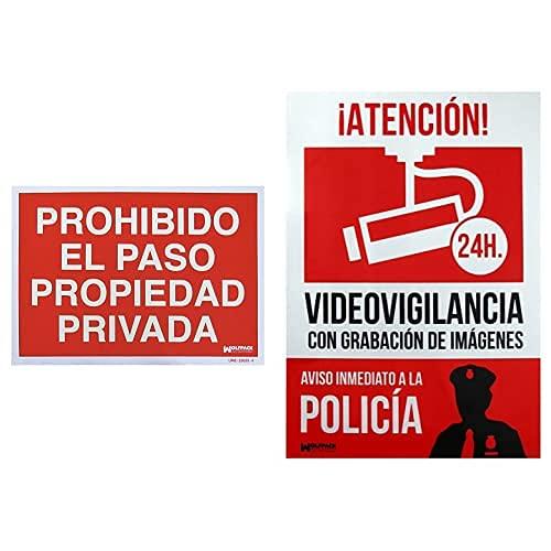 WOLFPACK LINEA PROFESIONAL 15051252 Cartel Prohibido El Paso Propiedad Privada, 30 X 42 Cm + 15050921 Cartel Alarma Conectada Aviso A Policía, 30 X 21 Cm