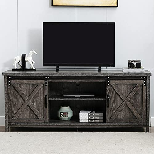 58' Farmhouse TV Stand for TVs up to 65 inch, Rustic Entertainment Center TV Cabinet Stands for Living Room, Wooden Sliding Barn Door TV Center Media Console with Storage and Shelves