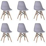 BenyLed Set di 6 Sedie da Pranzo in Plastica Stile retrò per Sala da Pranzo, Cucina, Ufficio, Ristorante, ECC. (Grigio)