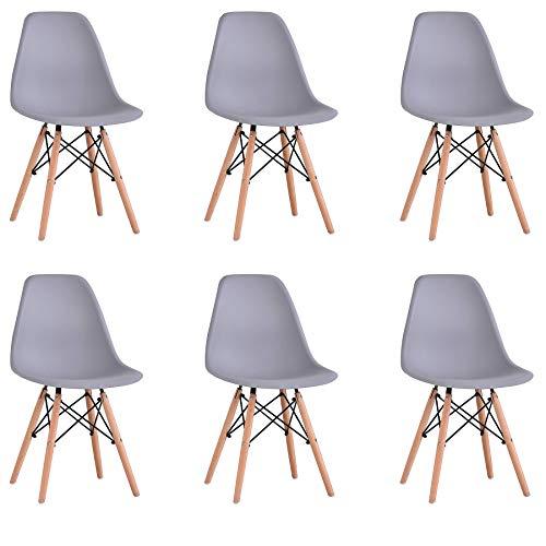 BenyLed Juego de 6 Sillas de Comedor de Plástico Contemporáneo, Diseño Retro, para Comedor, Cocina, Oficina, Restaurante, etc, Gris