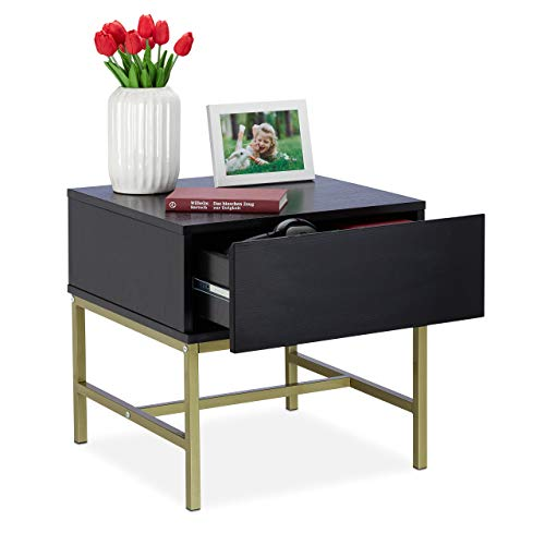 Relaxdays nachtkastje zwart, vierkante bijzettafel met lade, hout, gouden metalen frame, 50 x 50 x 50 cm, zwart