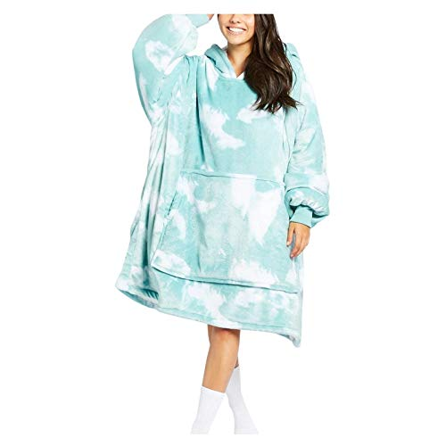 IHGWE Cálida manta con capucha para adultos, moda suelta, abrigo, chaqueta de felpa para mujer, abrigo de invierno, abrigo corto, manta perezosa en casa Encuadernación de color verde. Talla única