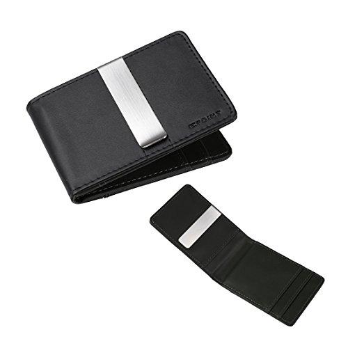 ECM08A01 Portafoglio in pelle nera Romanticismo tessuto della clip in acciaio inossidabile Denaro e 4 supporti di carta regalo di Natale un'idea di Epoint