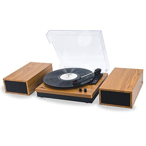 LP&No.1 レトロ ベルト ドライブ ブルートゥース ターンテーブル 分離可能 ステレオ スピーカー 付き、 3 スピード ビニール レコード プレーヤー