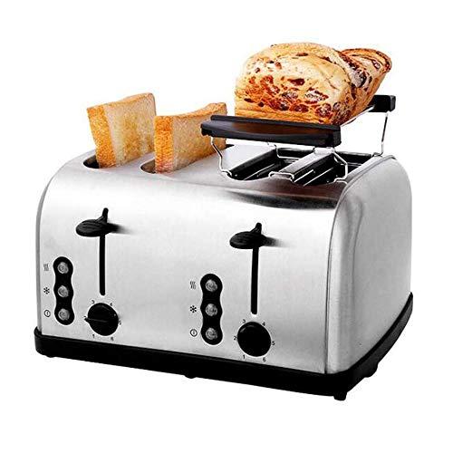 RANRANJJ Tostadora for 4 rebanadas, Extra Ancho de Ranura tostadora del Pan, de Acero Inoxidable Bagel pequeño Tostador, Compacto Slice Toaster