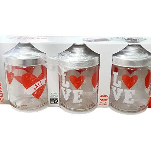 Cerve set met 3 glazen potjes met deksel Made in Italy Love hart 800 cc voor zout, suiker, koffie, specerijen