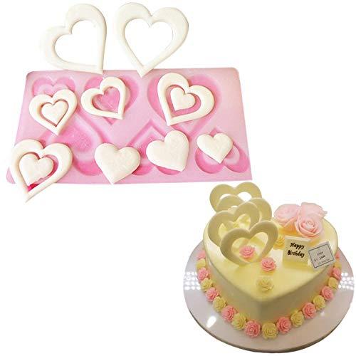WGSI Mold Coeur Cadeau du Jour Silicone Saint-Valentin Outils de décoration de gâteau de Petit gâteau Moule en Silicone Moule à Chocolat Muffin Pan de Cuisson Stencil (Color : A)
