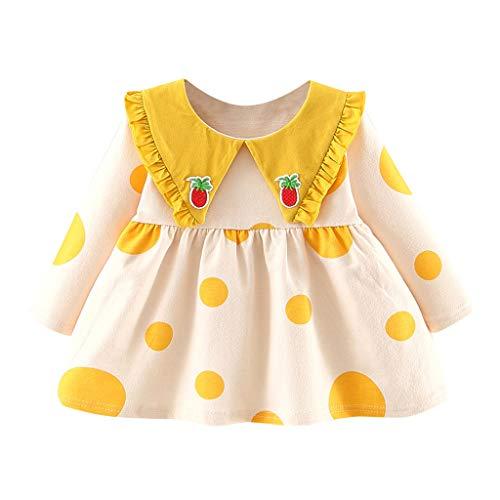 Meisjesjurk met patron en ruches en lange mouwen, voor kinderen, jurken voor meisjes, feestjurk, prinsessenjurk, herfstdrok