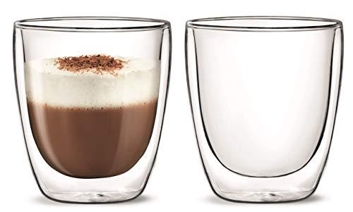 Aqualogis – Vaso de doble pared con aislamiento térmico Latte Macchiato, Cappuccino 300 ml, juego de 2