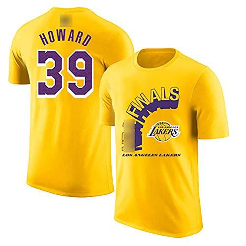 2020 Champions NBā Lakers Camiseta, James 23# Davis 3# Howard 39# Kuzma 0# Rondo 9# Jersey de Manga Corta para Hombres jóvenes: el Uniforme de Apariencia Amarilla más popular-39#-XXL