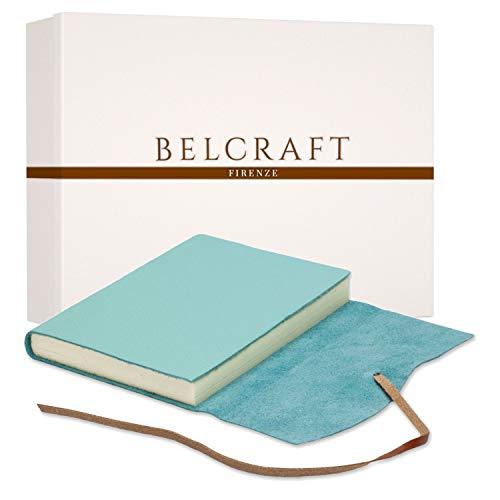 Capri A5 mittelgroßes Notizbuch aus Leder, Handgearbeitet in klassischem Italienischem Stil, Geschenkschachtel inklusive, Tagebuch, Lederbuch A5 (15x21 cm) Aqua