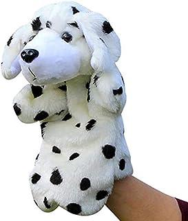 LIBOYUJU Puppy Plush Children's Toy Hand Puppet Dalmatian Big Yellow Dog Parent-Child Doll Toddler Story,C