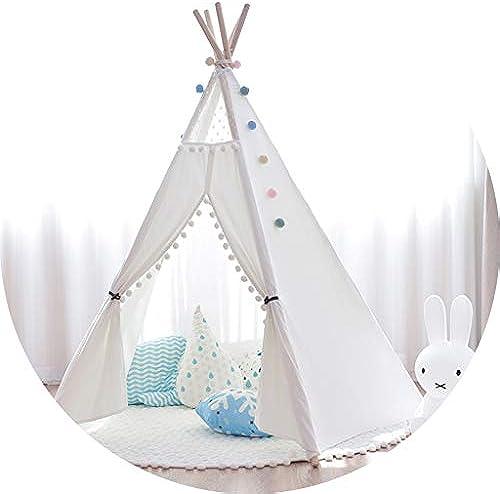 Home experience- Kinder Spielen Zelt Prinz oder Prinzessin Sommer Zimmer Indoor Kinder Spielzeug Spielhaus Strand Sun Indian Tipi Jungen mädchen (Farbe   Weiß-with pad)