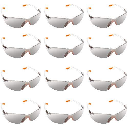 Kurtzy Pack 12 Gafas Seguridad Laboral con Lentes Grises y Plaqueta Nasal de Goma para un Ajuste Seguro - Gafas de Proteccion Lentes Resistente a Arañazos – Gafas PPE – Equipo de Protección Personal ⭐