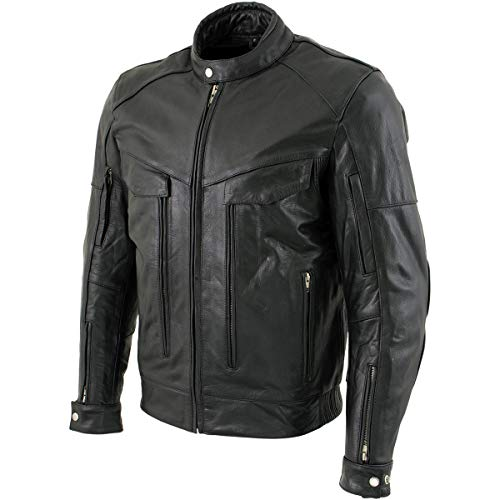 Xelement B4495 'Bandit' Men's Black Buffalo Leather Cruiser Motorcycle Jacket with X-Armor Protection - 3X-Large