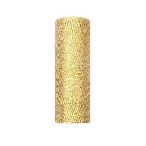 PartyDeco - Rollo de Tul con Purpurina, Color Dorado