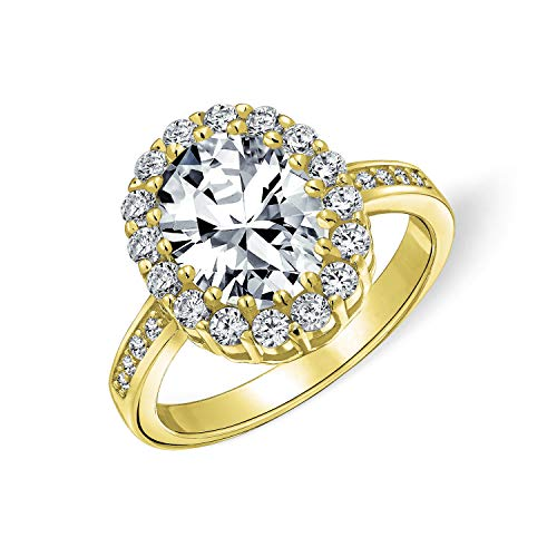 Estilo Vintage 4CT ovalado pavé cúbico Zirconia CZ promesa anillo de compromiso para las mujeres chapado en oro plata de ley
