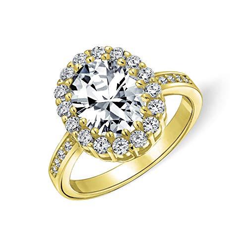 Estilo Vintage 4CT oval pave halo cúbico Zirconia CZ promesa anillo de compromiso para las mujeres chapadas en oro plata esterlina personalizada grabada