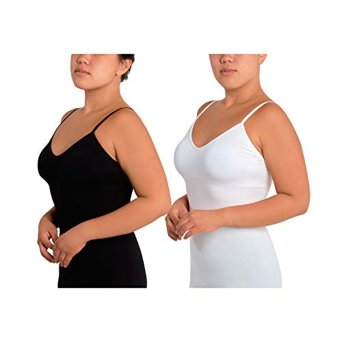 Skinnygirl Women's Scoop Neck Layering Camisole, 2-Pack (Black & White, Large)