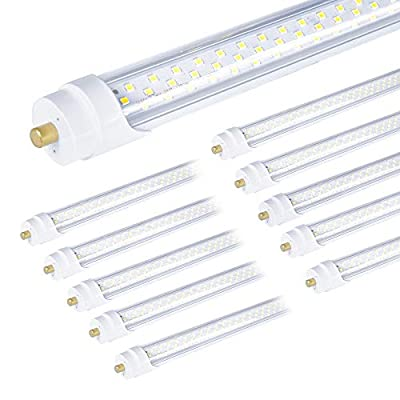 """ONLYLUX 8ft Led Bulbs, T8 8 Foot Led Bulb for T12 Fluorescent Replacement, 72W 9000lm 8' Led Tubes 96"""" FA8 Single Pin, Three Rows of lamp Beads, 5000K led Tube Light (10Pack)"""