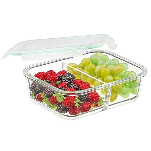 Vidrio Alimentos Contenedores 2 Compartimentos - Envases de Vidrio Para el Almacenamiento de Alimentos con Tapa - Caja Bento de Vidrio Para el Almuerzo Divididos Sin BPA