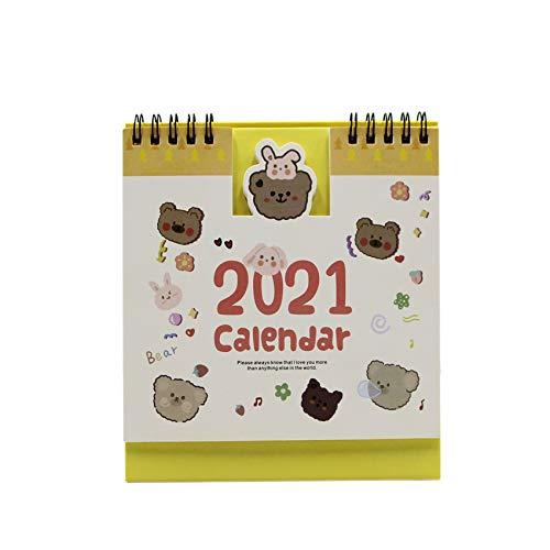 Cute Cartoon Small Desk Calendar 2020-2021 Desktop Standing Flip Monthly Daily Calendar Table Office Agenda Planner for Home Office Desk