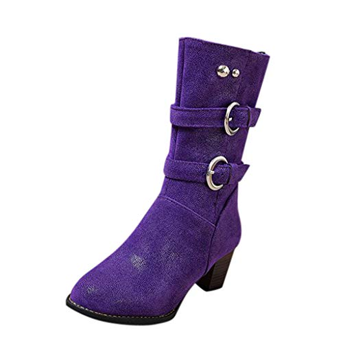 TMOTYE Damen Stiefeletten 2019 Elegante Frauenschuhe Fashion Bare Boots Dicker Absatz Pumps Fashion Boots Spitzschuhe Pfennigabsatz Gürtelschnalle Schlupfstiefel